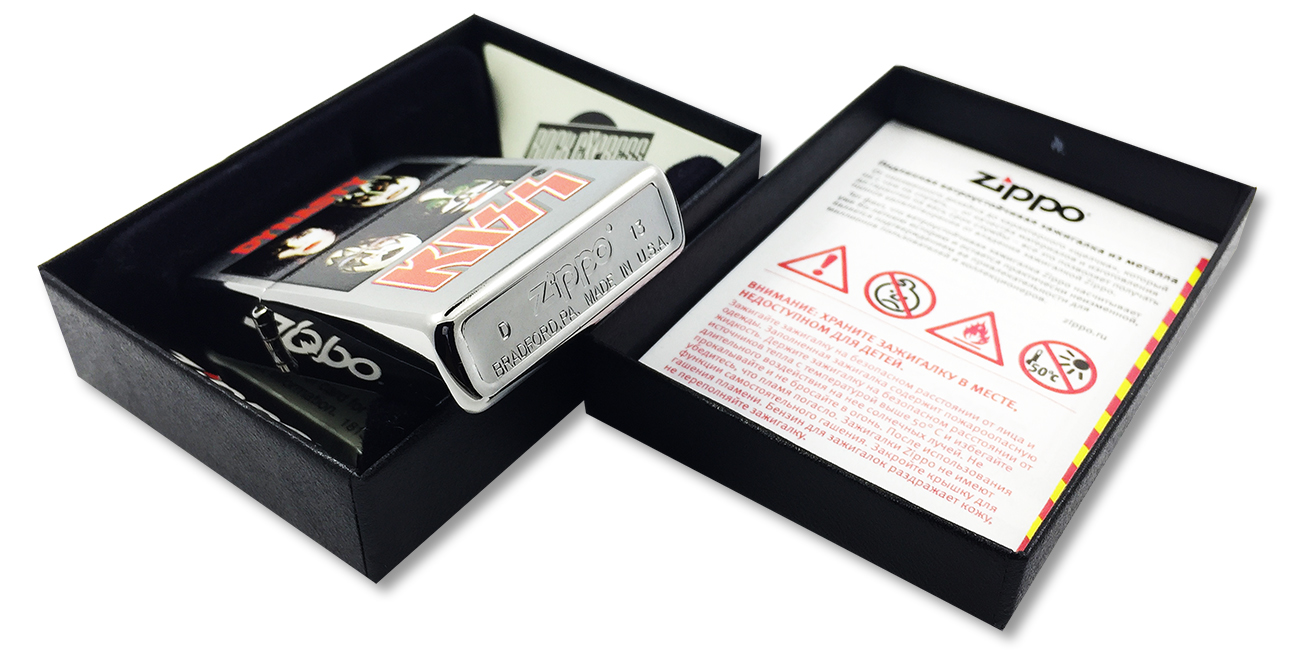 28019 Зажигалка Zippo Kiss Dynasty, Brushed Chrome - заводской штамп на дне зажигалки