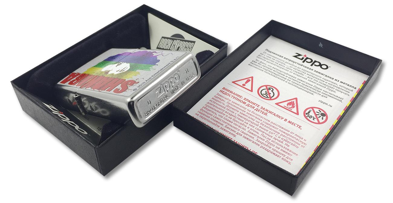 28028 Зажигалка Zippo Shakira Rainbow, Street Chrome - заводской штамп на дне зажиглки