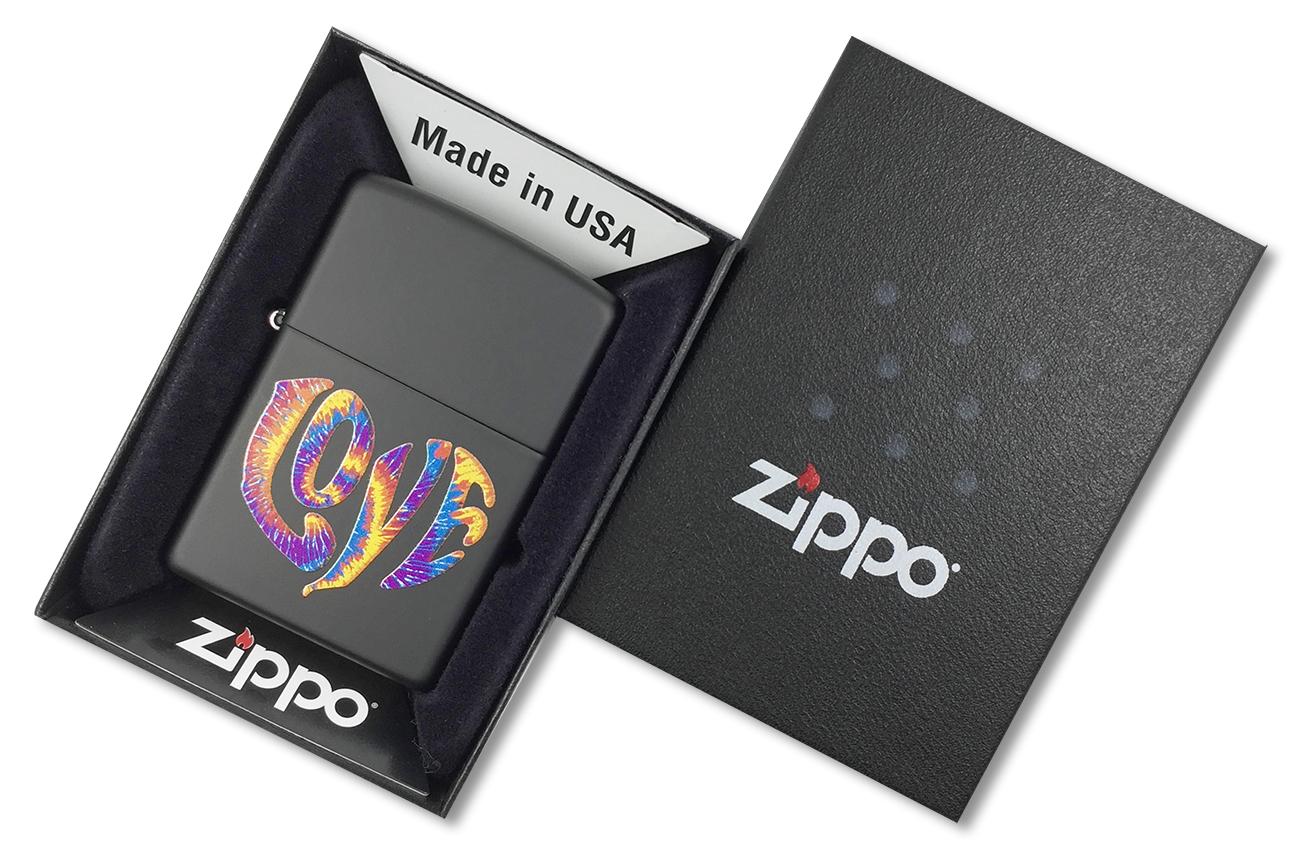 28045 Зажигалка Zippo Tie Die Love, Black Matte - в подарочной коробке