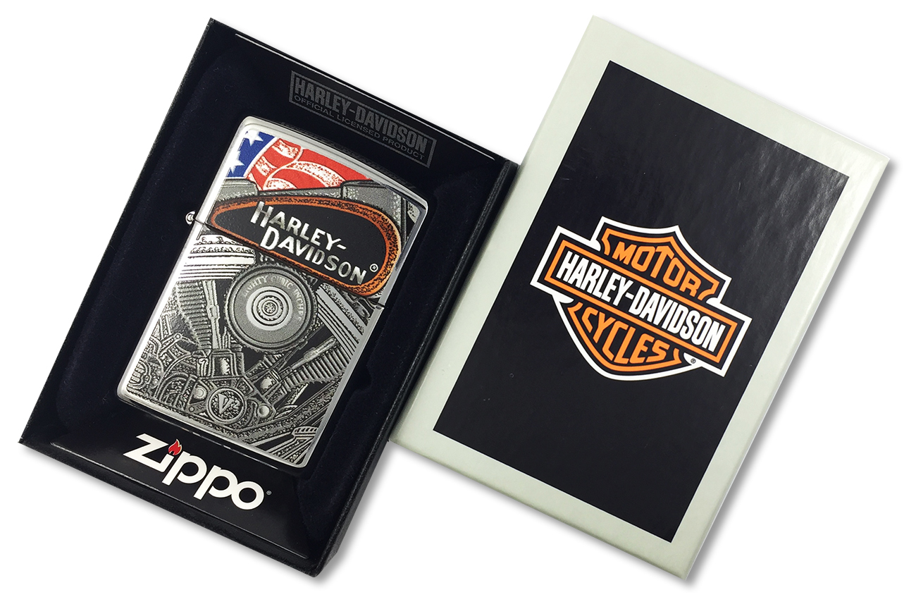 28081 Зажигалка Zippo Harley Davidson, Polish Chrome - в подарочной коробке
