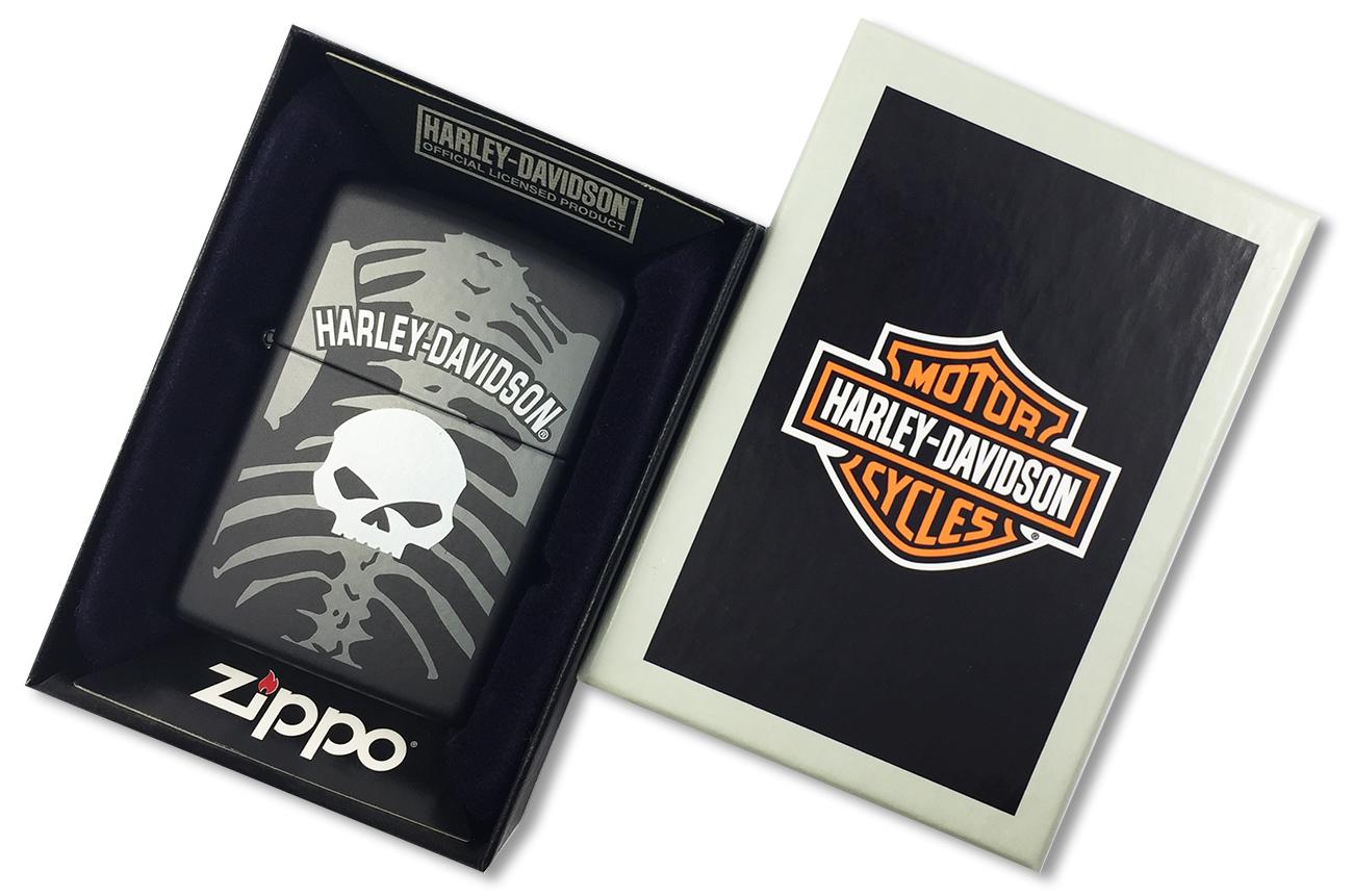 28085 Зажигалка Zippo Harley Davidson Skull and Ribcage, Black Matte - в подарочной упаковке
