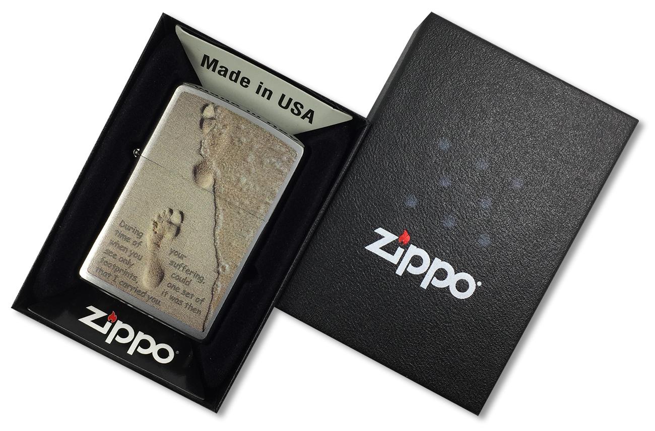 28180 Зажигалка Zippo Footprint, Brushed Chrome - в подарочной упаковке