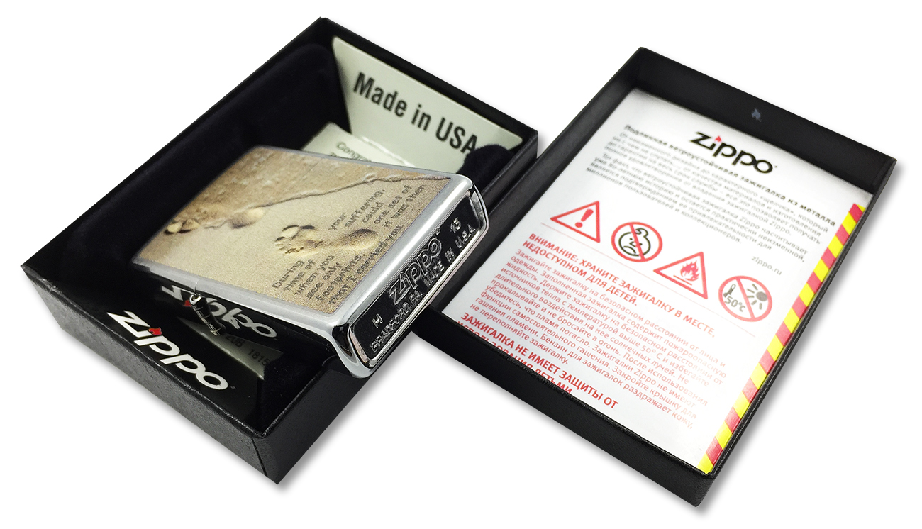 28180 Зажигалка Zippo Footprint, Brushed Chrome - заводской штамп на дне зажигалки