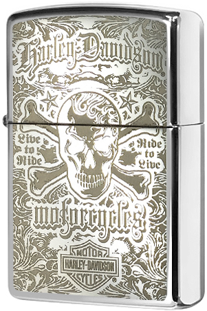 28229 Зажигалка Zippo Harley-Davidson Skull Live to Ride, Polish Chrome