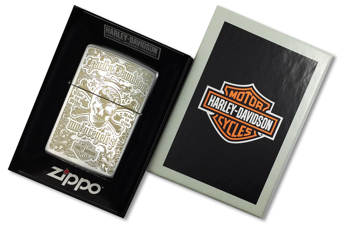 28229 Зажигалка Zippo Harley-Davidson Skull Live to Ride, Polish Chrome - в подарочной упаковке