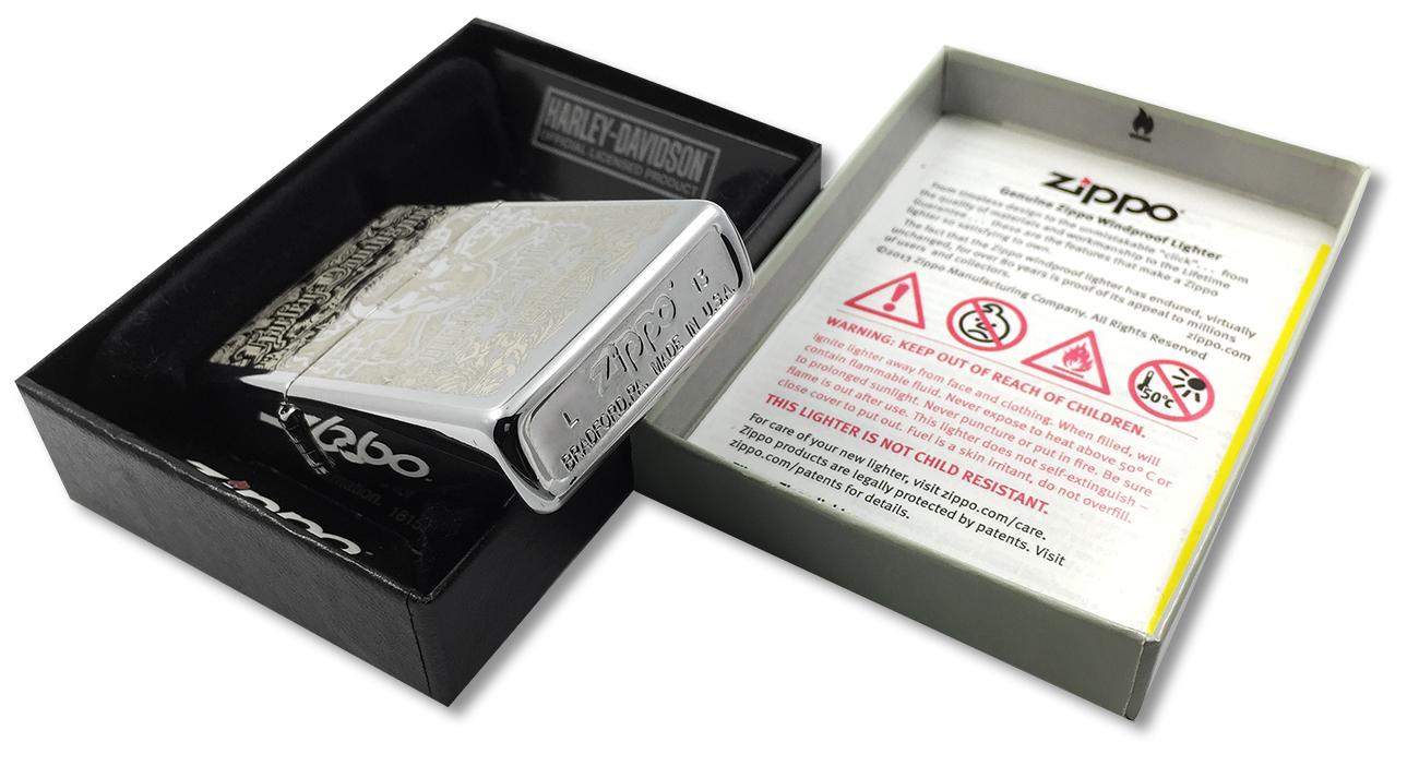 28229 Зажигалка Zippo Harley-Davidson Skull Live to Ride, Polish Chrome - заводской штамп на дне зажигалки