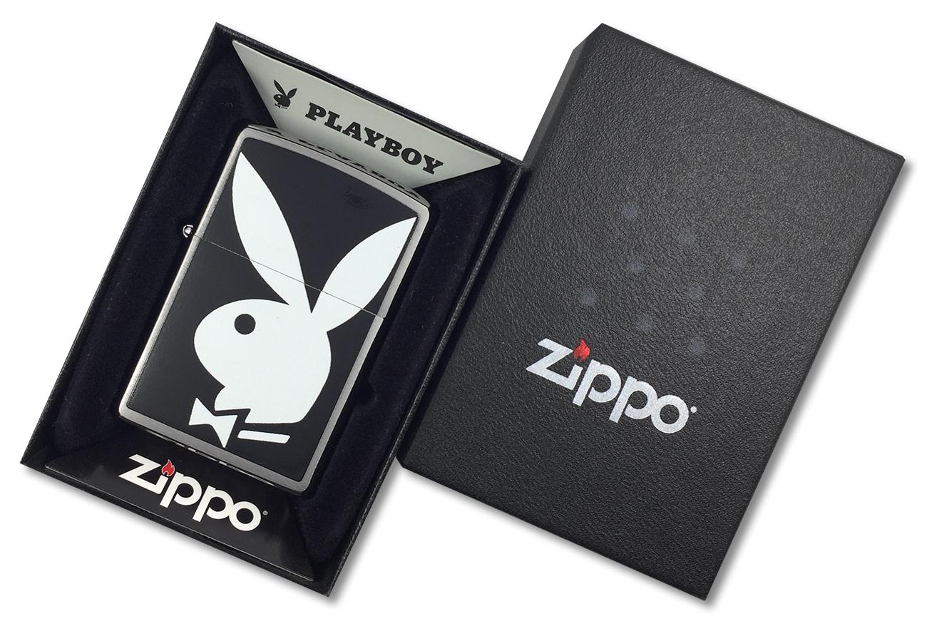 28269 Зажигалка Zippo Playboy Bunny, Brushed Chrome - в подарочной коробке