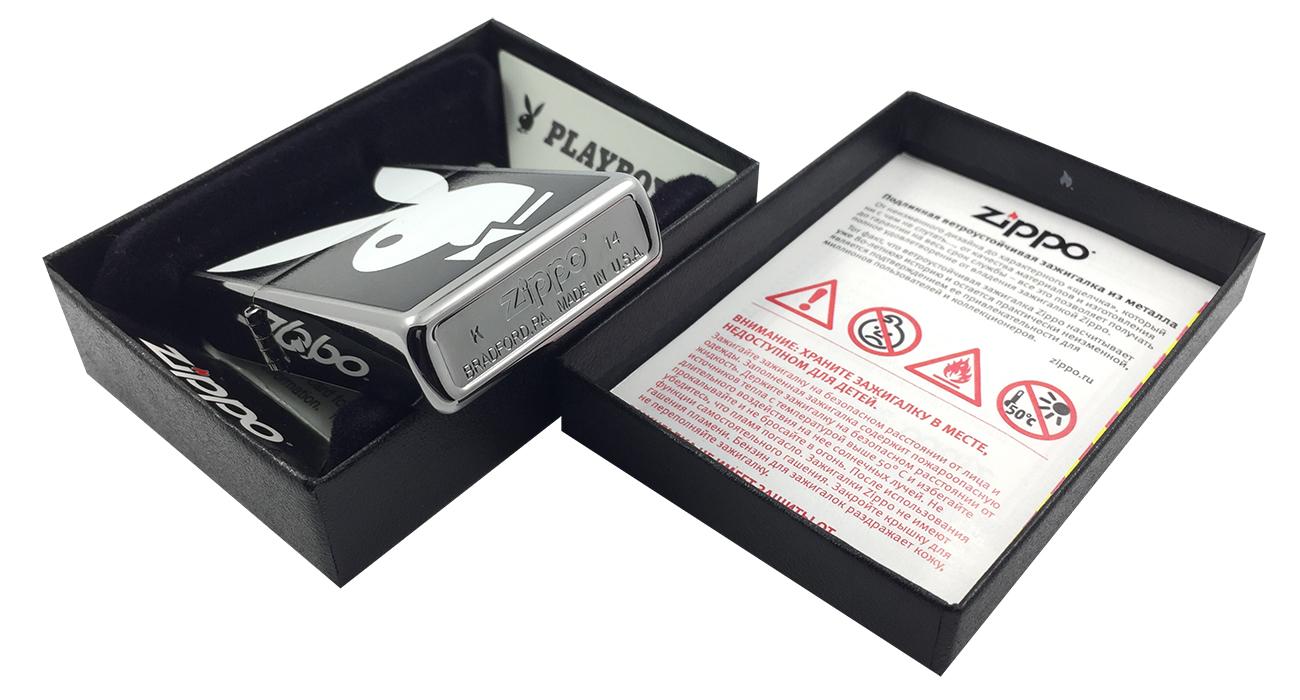 28269 Зажигалка Zippo Playboy Bunny, Brushed Chrome - заводской штамп на дне зажигалки