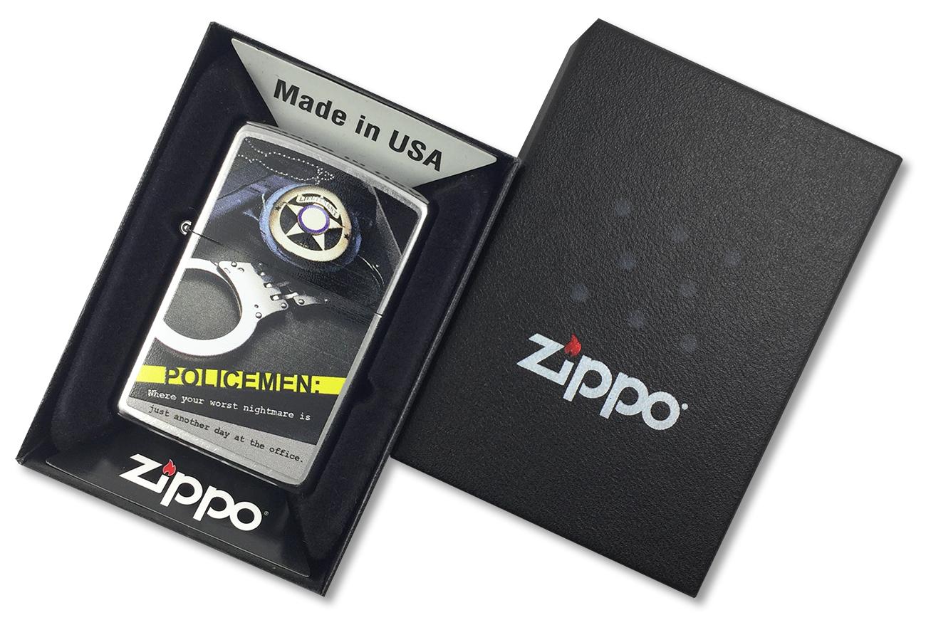 28279 Зажигалка Zippo Police Badge Handcuff, Street Chrome - в подарочной коробке