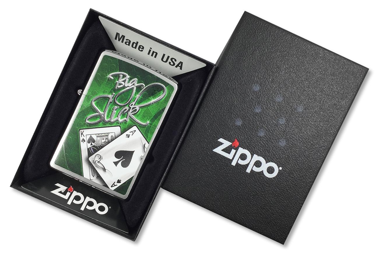 28281 Зажигалка Zippo Big Slick, Brushed Chrome - в подарочной упаковке