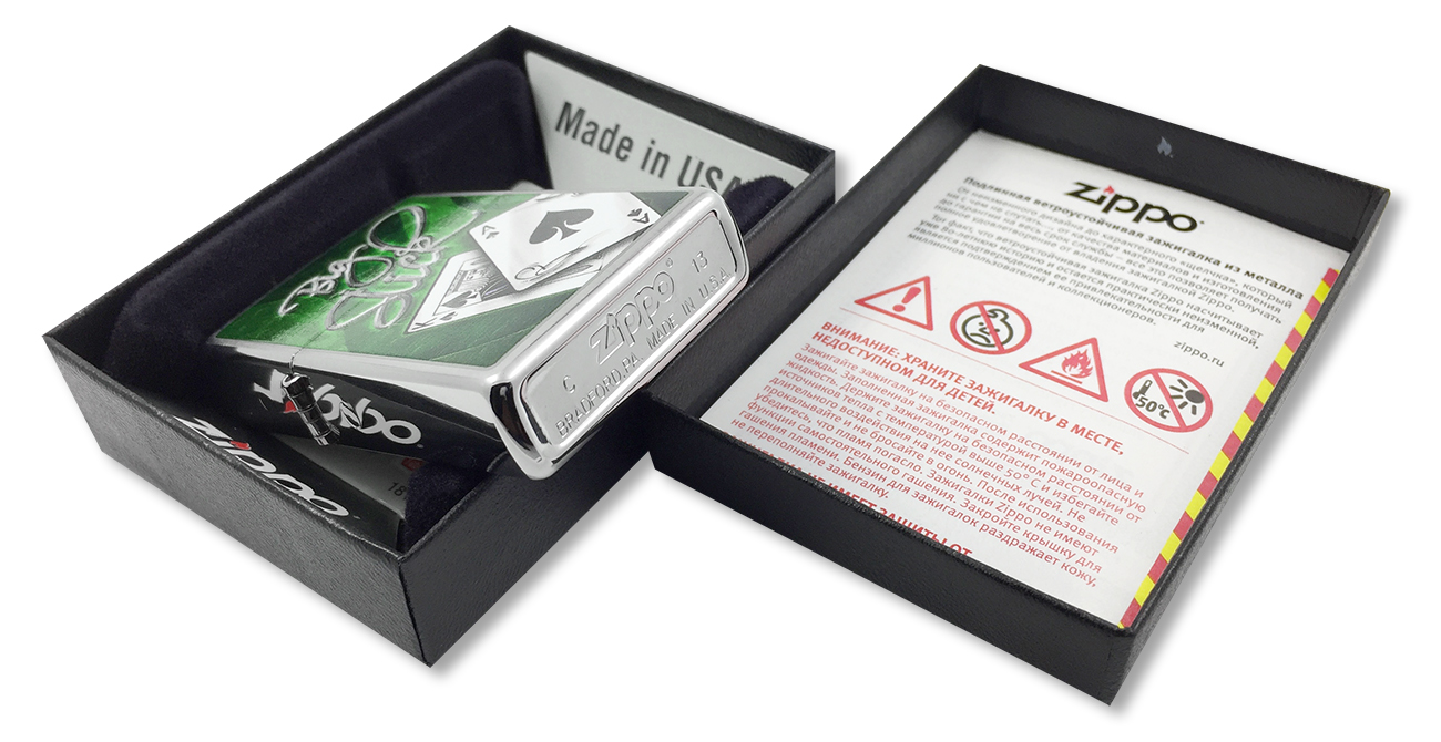 28281 Зажигалка Zippo Big Slick, Brushed Chrome - заводской штамп на дне зажигалки