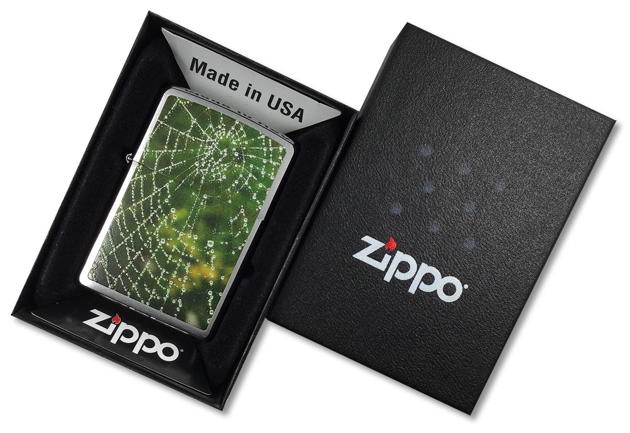 28285 Зажигалка Zippo Spider Web Rain Drops, Brushed Chrome - в подарочной упаковке