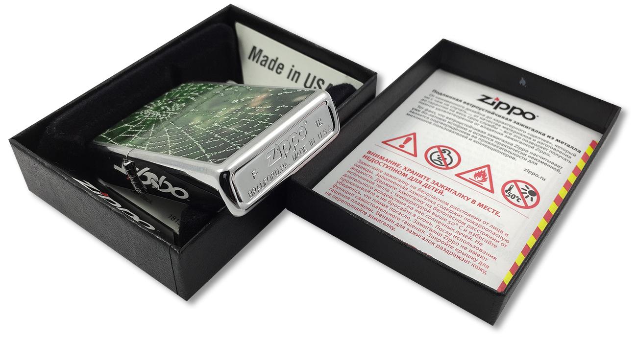 28285 Зажигалка Zippo Spider Web Rain Drops, Brushed Chrome - заводской штамп на дне зажигалки