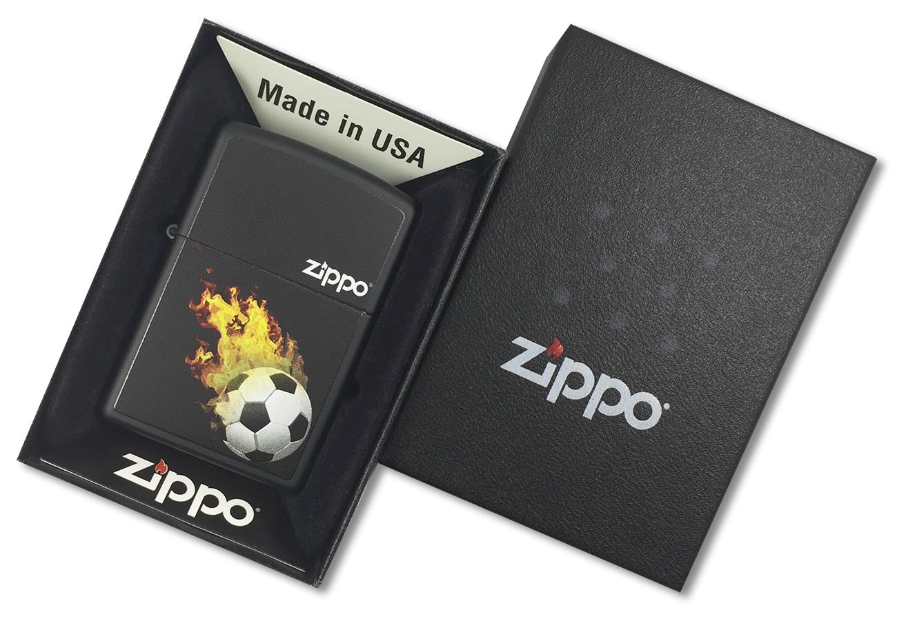 28302 Зажигалка Zippo Burning Soccer, Black Matte - в подарочной упаковке