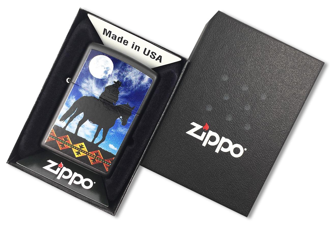 28311 Зажигалка Zippo Cowboy Moon, Black Matte - в подарочной коробке