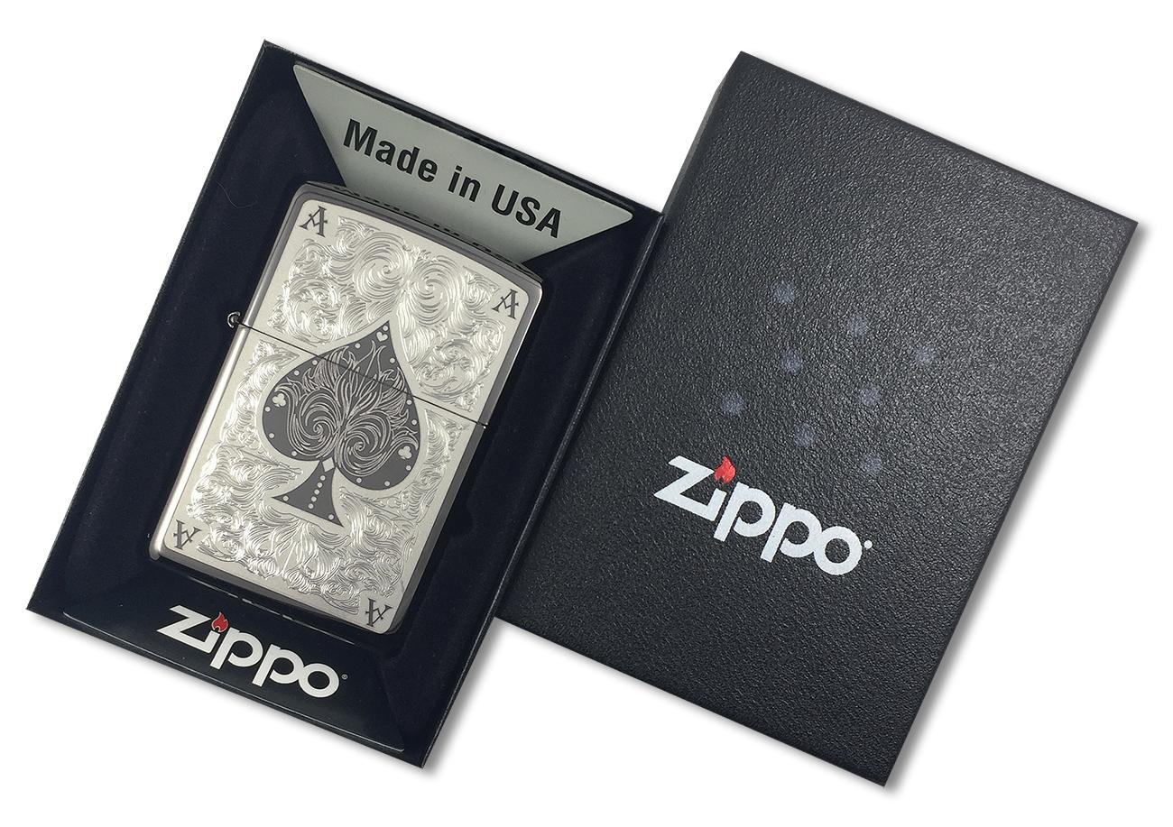 28323 Зажигалка Zippo Ace Filigree, Black Ice - в подарочной упаковке
