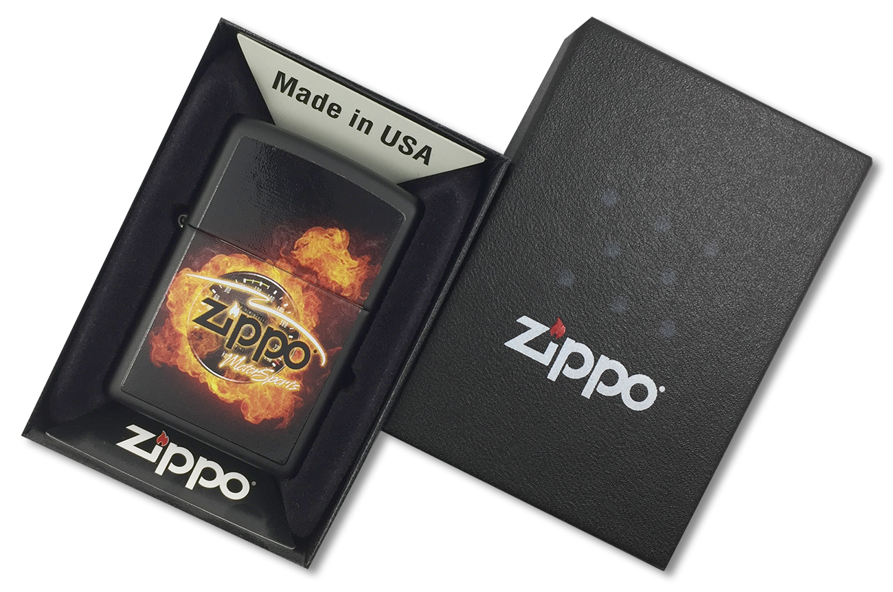 28335 Зажигалка Zippo Motor Sports, Black Matte - в подарочной упаковке