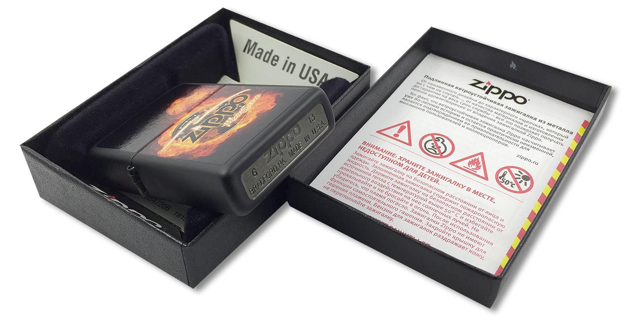 28335 Зажигалка Zippo Motor Sports, Black Matte - заводской штамп на дне зажигалки