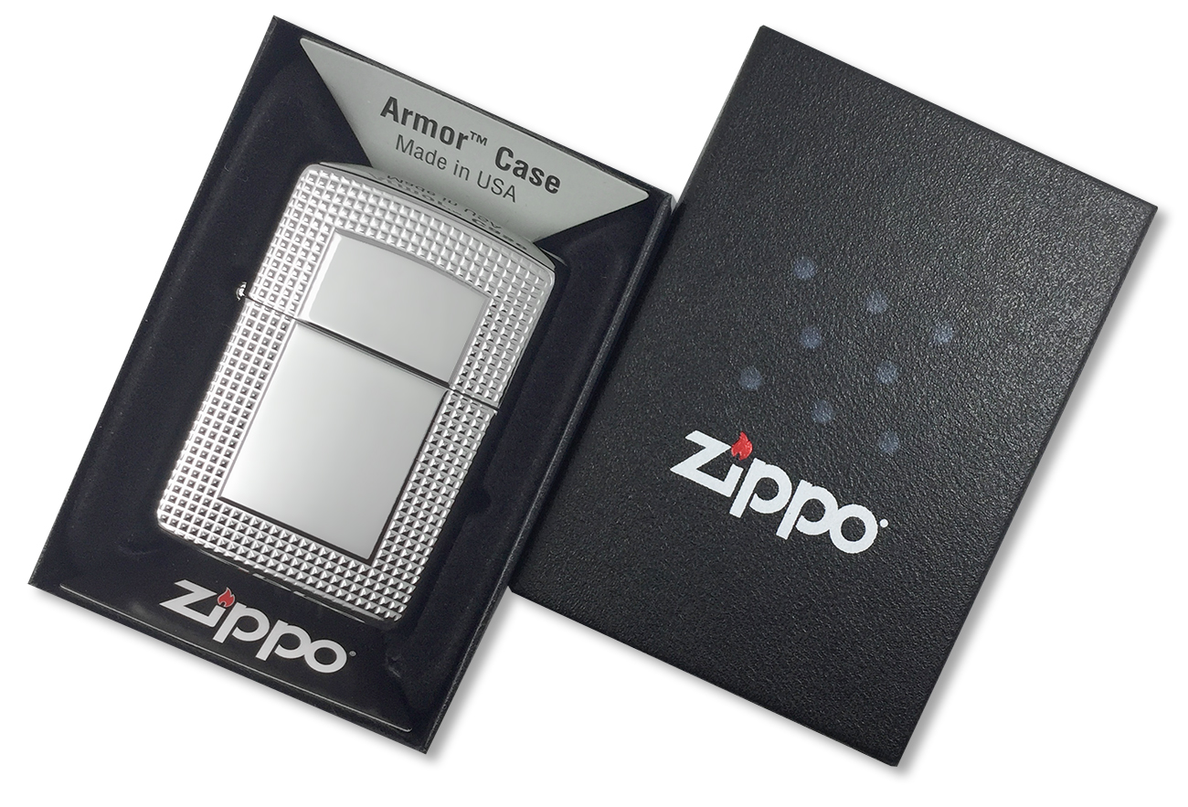 28366 Зажигалка Zippo Carved Border Armor, Polish Chrome - в подарочной коробке