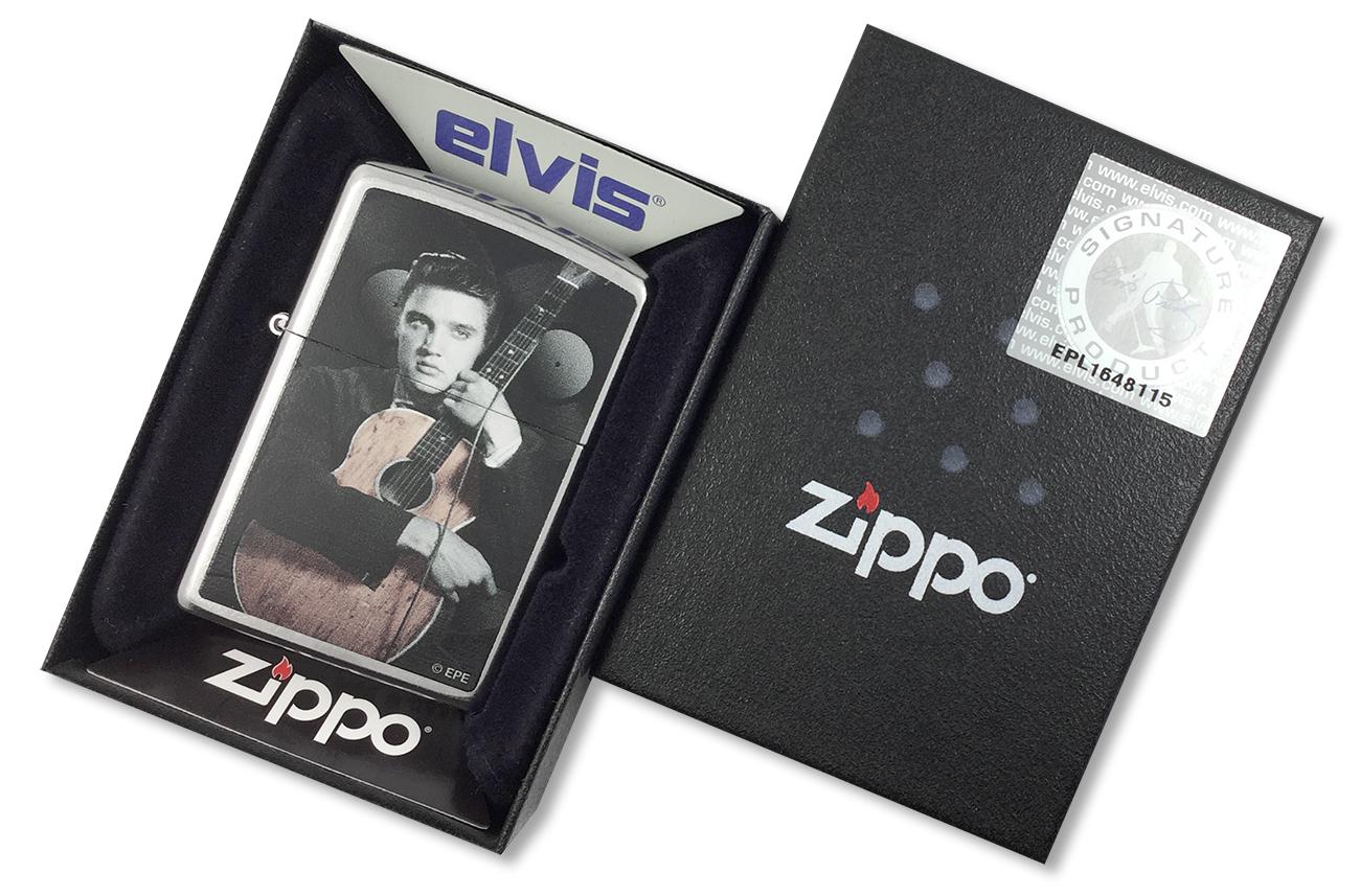 28431 Зажигалка Zippo King of Rock and Roll with his guitar, Street Chrome - в подарочной упаковке