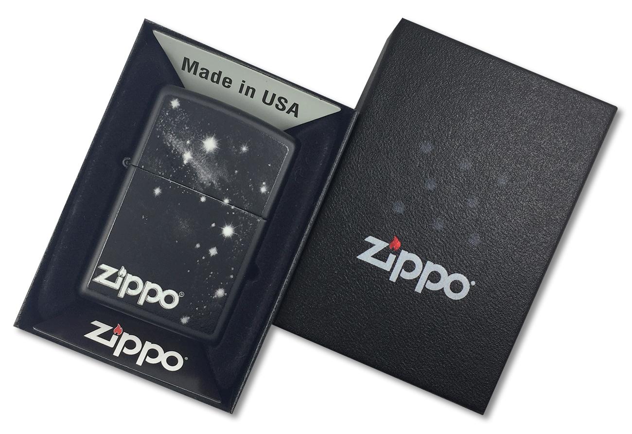 28433 Зажигалка Zippo Galaxy, Black Matte - в подарочной упаковке