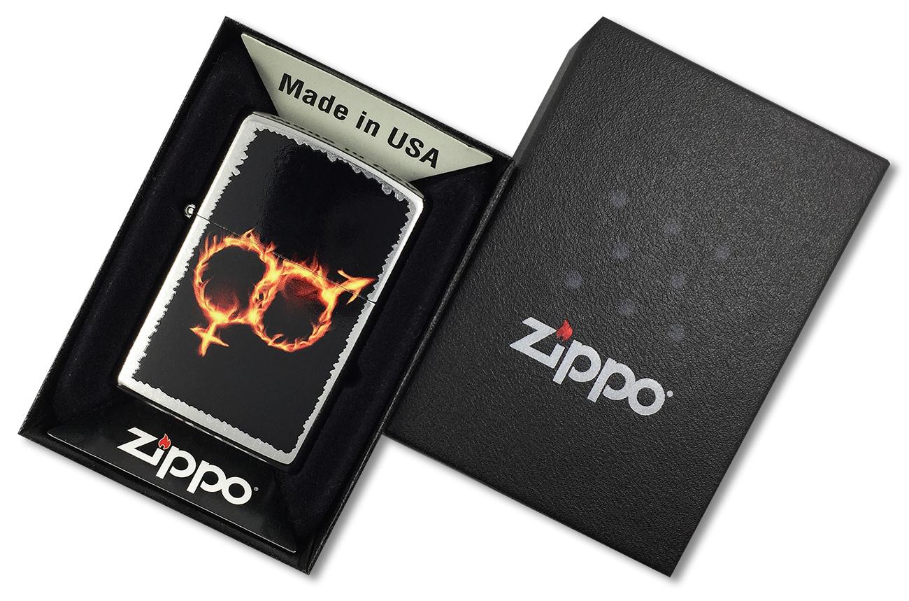 28446 Зажигалка Zippo Man Woman Fire, Street Chrome - в подарочной коробке зиппо
