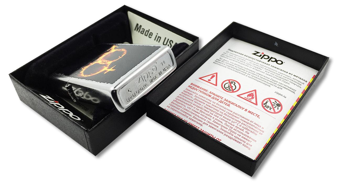 28446 Зажигалка Zippo Man Woman Fire, Street Chrome - заводской штамп на дне зажигалки зиппо