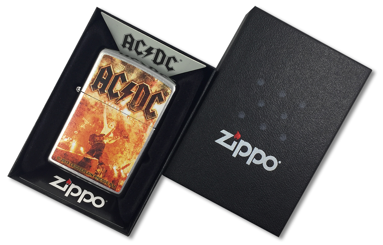 28454 Зажигалка Zippo AC/DC, Street Chrome - в подарочной коробке