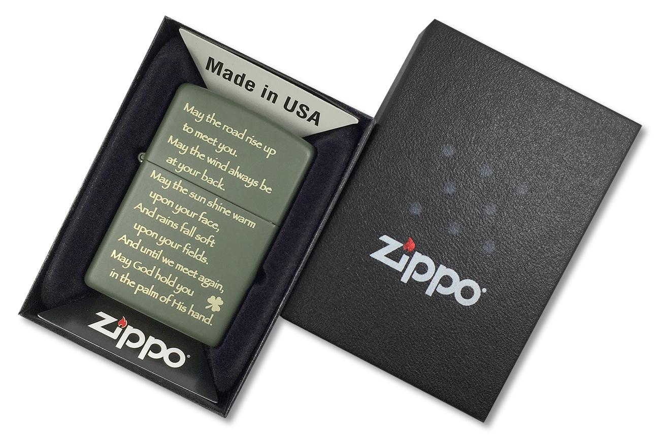 28479 Зажигалка Zippo Irish Blessing, Green Matte - в подарочной упаковке