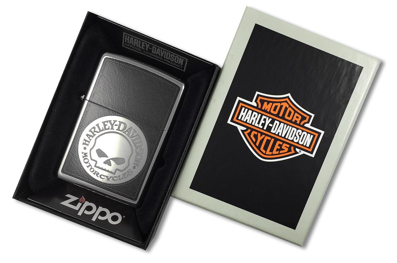 28484 Зажигалка Zippo Skull Harley Davidson, Polish Chrome - в подарочной упаковке