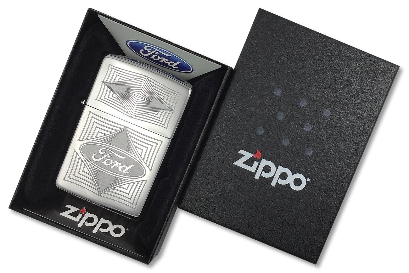 28625 Зажигалка Zippo Ford Diamonds, Polish Chrome - в подарочной коробке