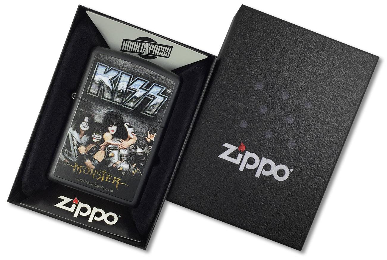 28628 Зажигалка Zippo Kiss Monster, Black Matte - в подарочной коробке