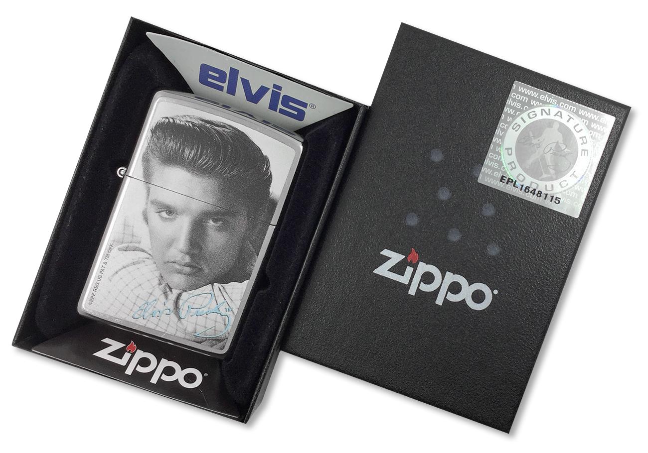 28629 Зажигалка Zippo Elvis and Signature, Street Chrome - в подарочной коробке с лицензией Elvis