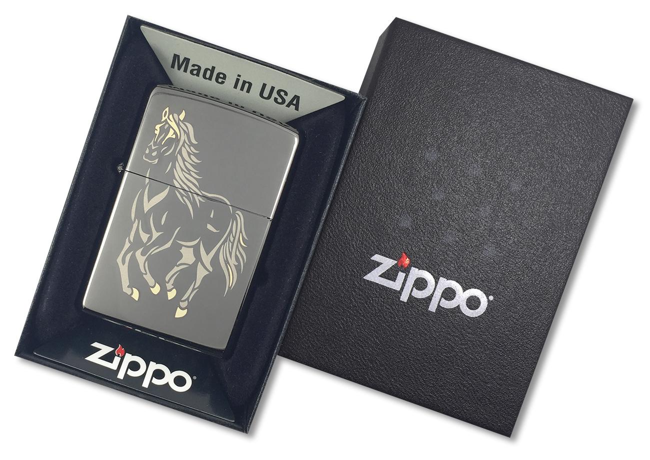 28645 Зажигалка Zippo Running Horse Black Ice, Polish Finish - в подарочной упаковке