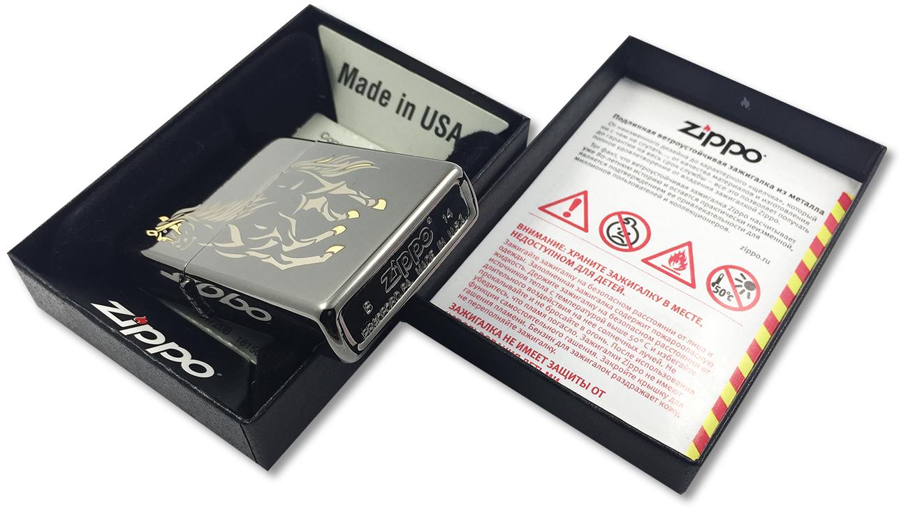 28645 Зажигалка Zippo Running Horse Black Ice, Polish Finish - заводской штамп на дне зажигалки