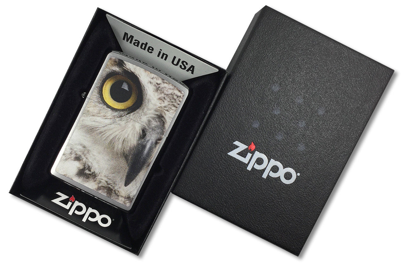 28650 Зажигалка Zippo Owl, Brushed Chrome - в подарочной упаковке