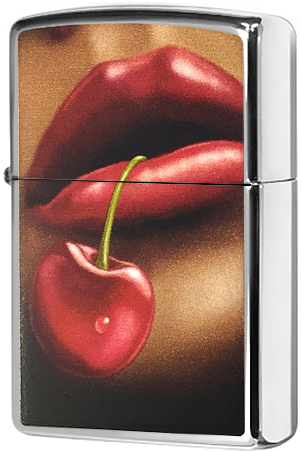 28655 Зажигалка Zippo Lips and Cherry, Polish Chrome