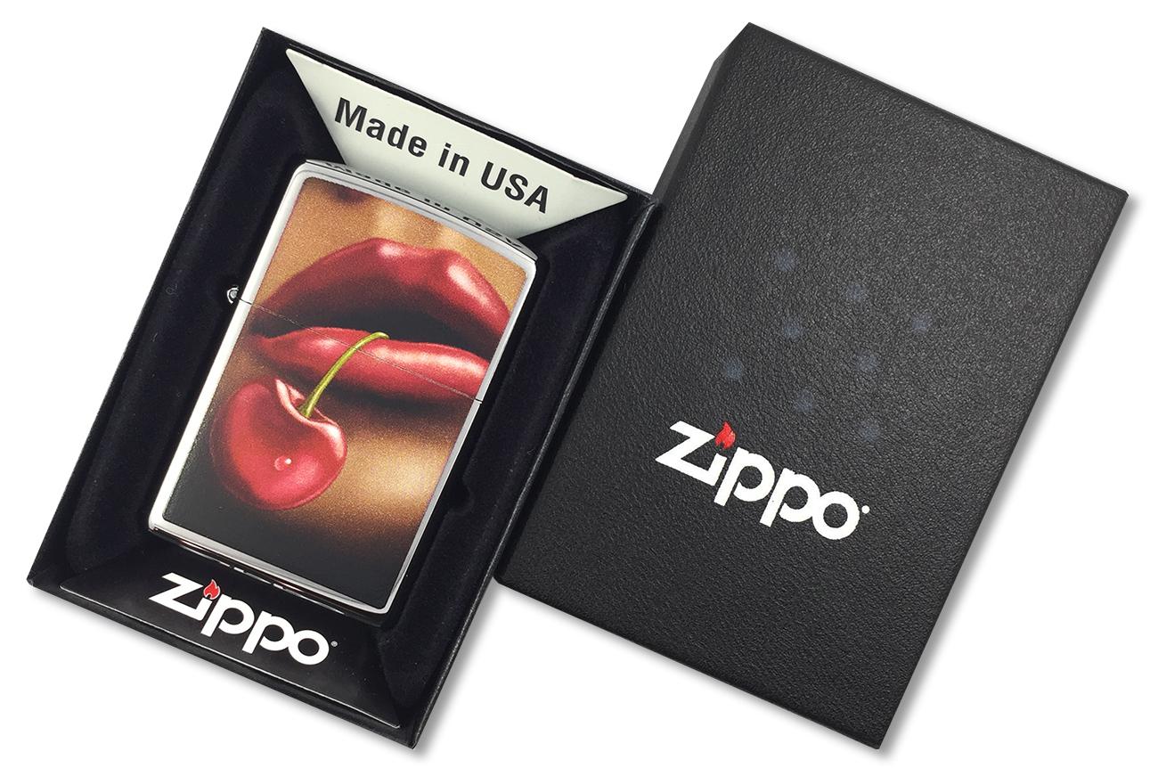 28655 Зажигалка Zippo Lips and Cherry, Polish Chrome - в подарочной коробке