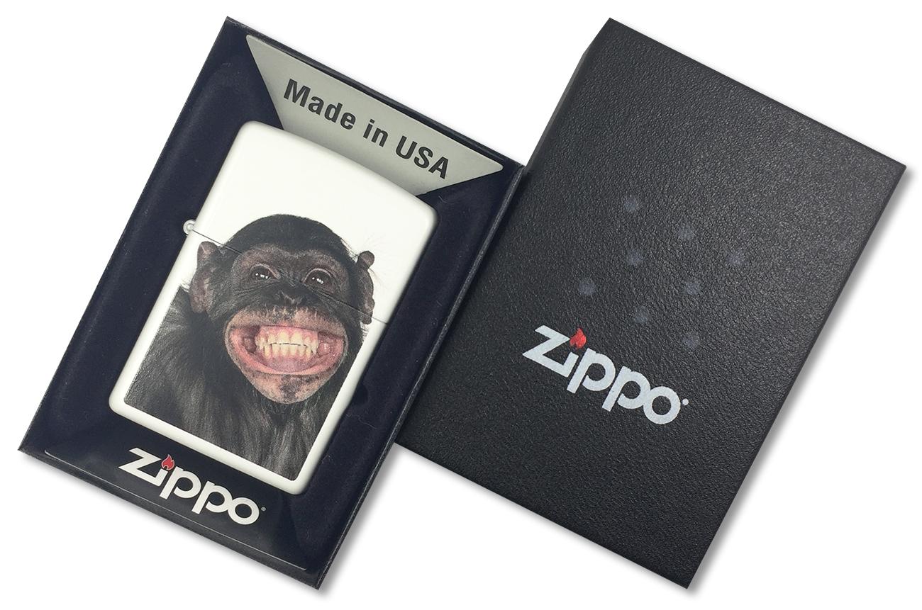 28661 Зажигалка Zippo Monkey Grin, White Matte - в подарочной упаковке