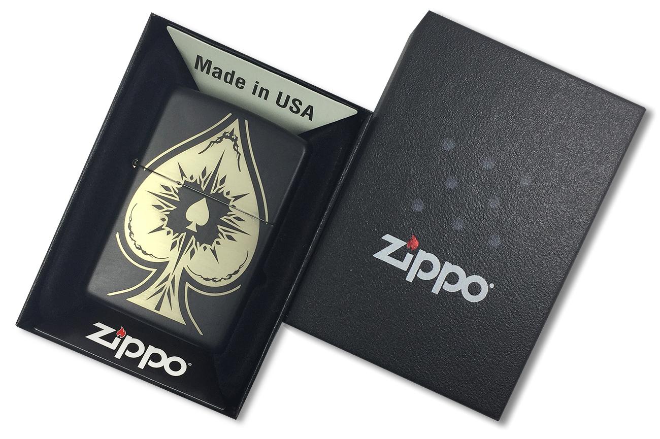 28662 Зажигалка Zippo Spade, Black Matte - в подарочной упаковке