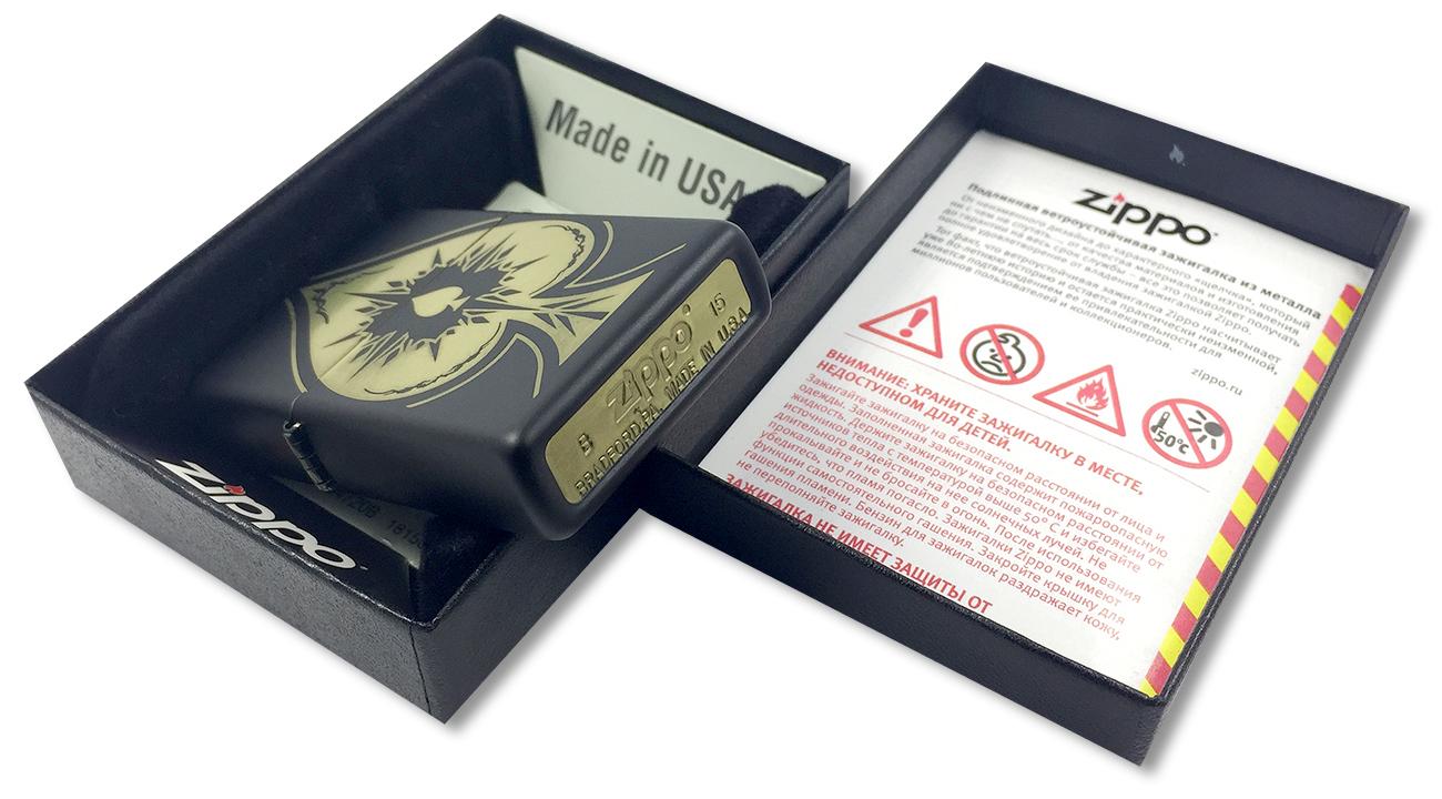 28662 Зажигалка Zippo Spade, Black Matte - заводской штамп на дне зажигалки
