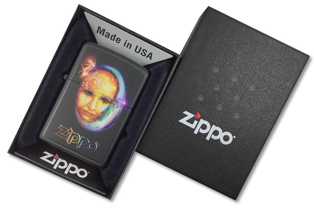 28669 Зажигалка Zippo Venetian Mask, Black Matte - в подарочной упаковке