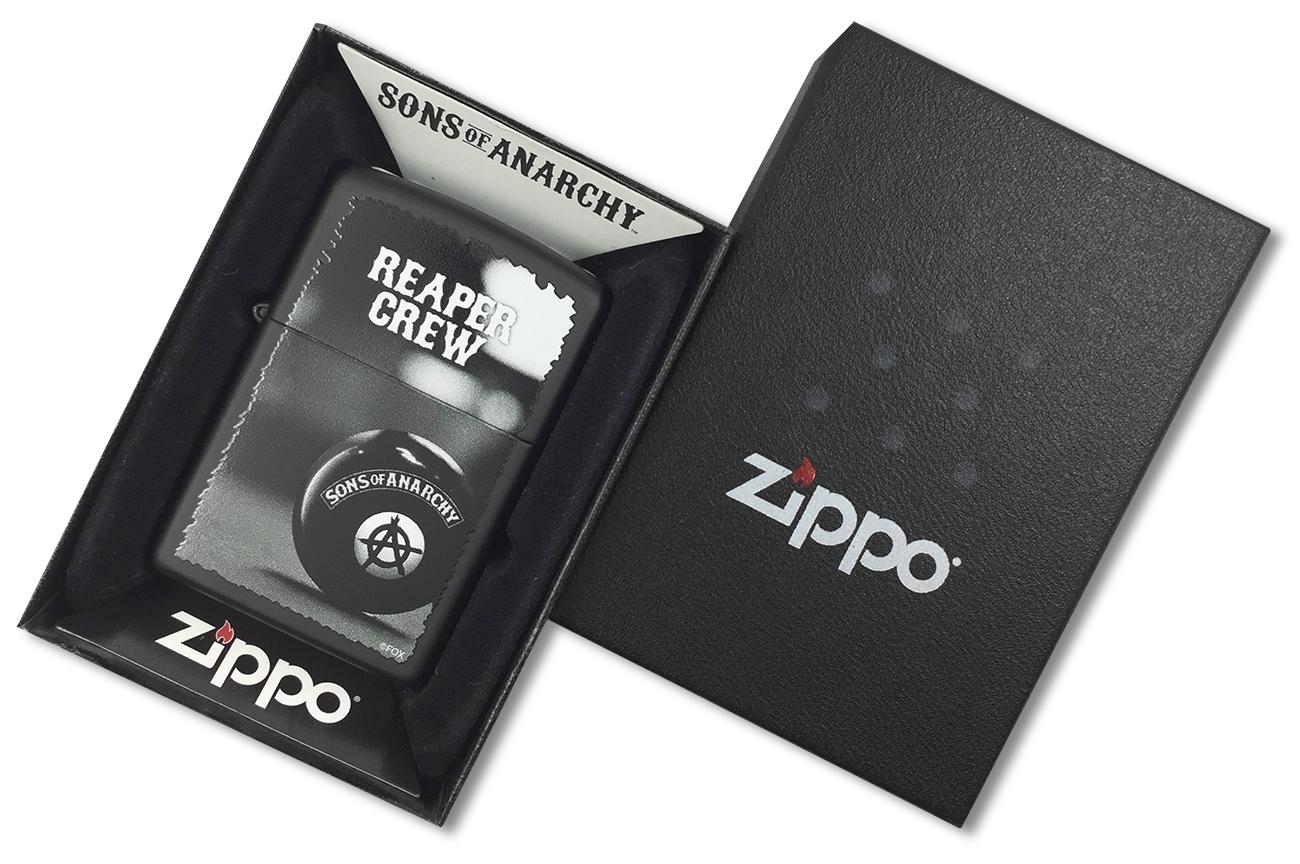 28677 Зажигалка Zippo Reaper Crew, Black Matte - в подарочной коробке