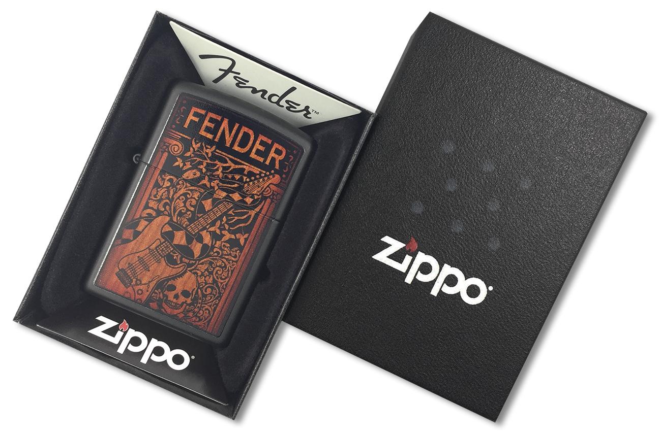 28733 Зажигалка Zippo Fender Guitar, Black Matte - в подарочной коробке