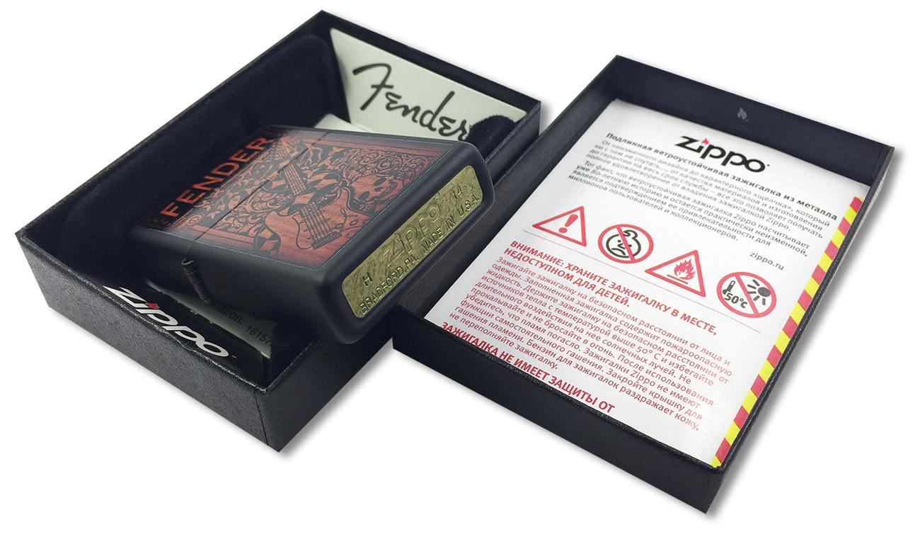 28733 Зажигалка Zippo Fender Guitar, Black Matte - заводской штамп на дне зажигалки