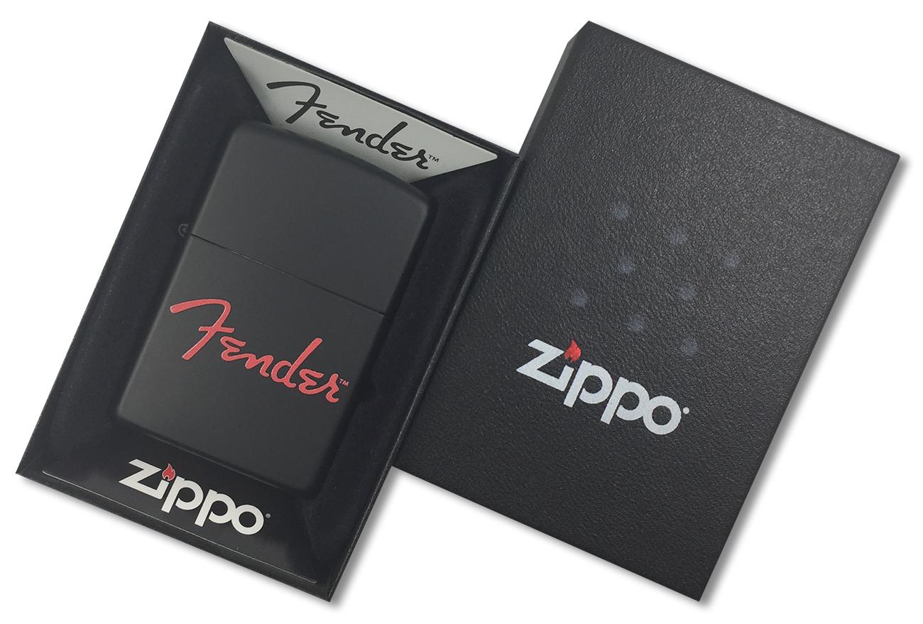 28734 Зажигалка Zippo Fender, Black Matte - в подарочной упаковке