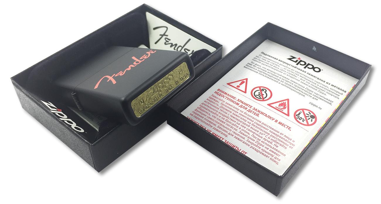 28734 Зажигалка Zippo Fender, Black Matte - заводской штамп на дне зажигалки