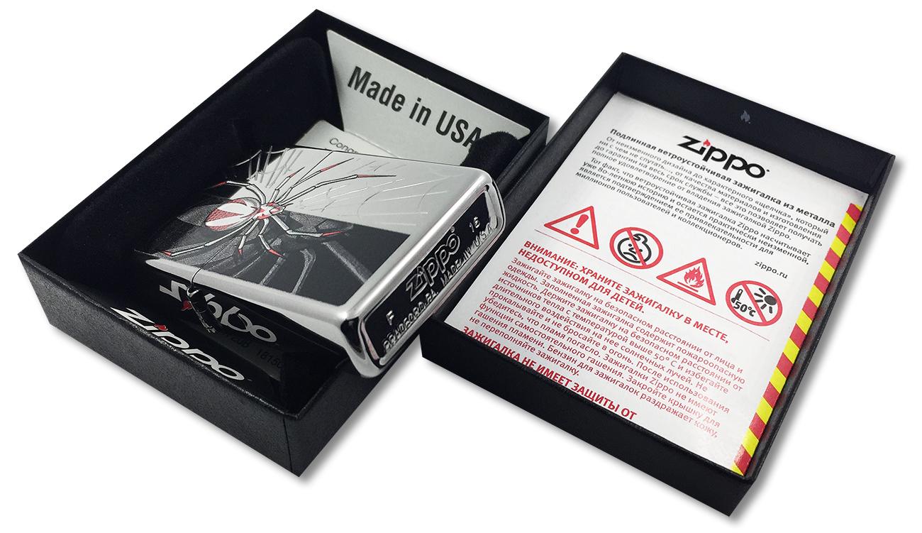 28795 Зажигалка Zippo Spider to Crawl, Polish Chrome - заводской штамп на дне зажигалки