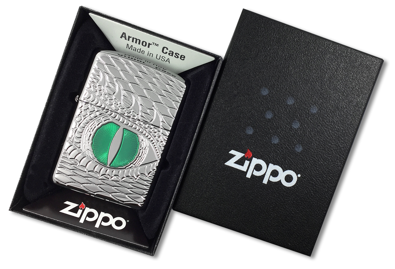 28807 Зажигалка Zippo Armor Dragon Eye, Polish Chrome - в подарочной упаковке