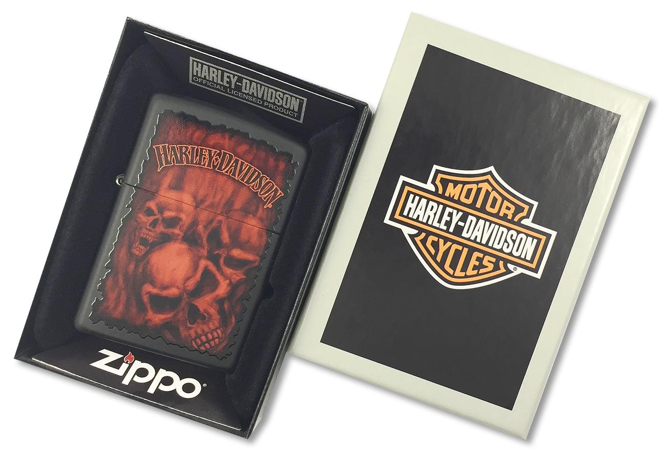 28826 Зажигалка Zippo Harley Davidson Ghostly Red Skulls, Black Matte - в подарочной упаковке